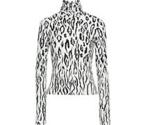 Rollkragenoberteil aus Stretch-jersey mit Leopardenprint