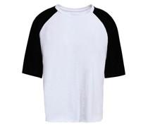 Velvet-paneled Cotton-jersey T-shirt