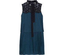 Berenice Lace-paneled Pleated Voile Mini Dress Rauchblau
