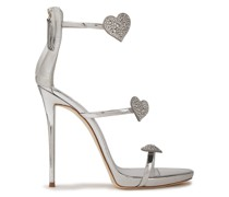 Coline 110 Crystal-embellished Mirrored-leather Sandals