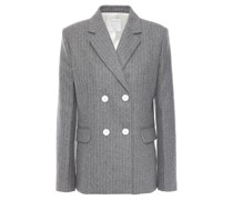 Double-breasted Pinstriped Wool-blend Felt Blazer