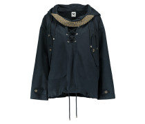 Lace-up Cotton Hooded Coat Navy