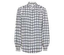Ruffle-trimmed Checked Jacquard Shirt