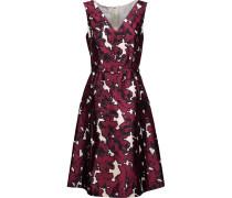Pleated Floral-print Silk-twill Dress Burgunder