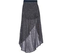 Asymmetric Embellished Tulle Maxi Skirt Rauchblau