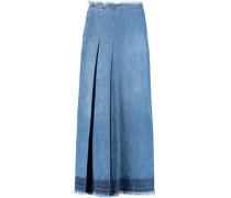 Frayed pleated denim maxi skirt