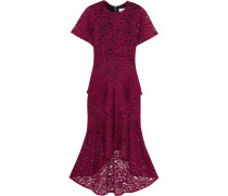 Tiered Guipure Lace Midi Dress Burgunder