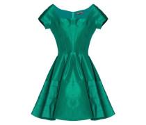 Flared pleated duchesse silk-satin mini dress