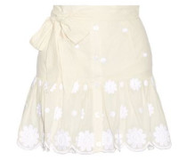 Emy belted embroidered cotton-voile mini skirt