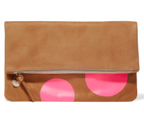 Neon Fold-over Printed Suede Clutch Hellbraun