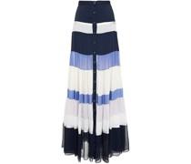 Gathered Color-block Satin, Satin-crepe And Silk-chiffon Maxi Skirt