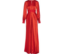 Helm Embroidered Silk-satin Maxi Dress Rot
