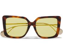 Square-frame Gold-tone And Tortoiseshell Acetate Mirrored Sunglasses
