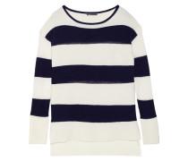 Striped Wool-blend Sweater Wollweiß