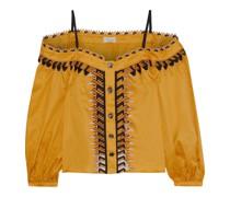 Agnes Cold-shoulder Embroidered Cotton Top