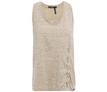 Lace-up Metallic Stretch-jersey Tank