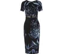 Cutout printed stretch-silk dress