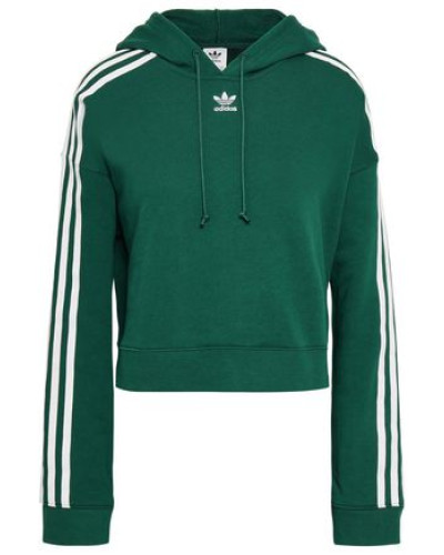 Woman Grosgrain-trimmed French Cotton-terry Hoodie Emerald