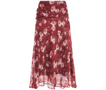 Ruched Floral-print Chiffon Midi Skirt