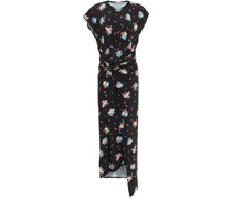 Draped Floral-print Stretch-jersey Midi Dress