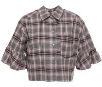 Cropped Hemd aus Baumwollflanell mit Karomuster