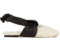 Maia Leather-trimmed Shearling Slippers