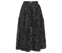 Embellished Embroidered Tulle Midi Skirt