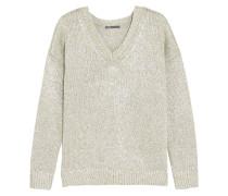 Metallic Linen Sweater Silber