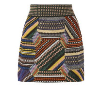 Paneled metallic stretch-knit mini skirt