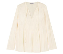 Woman Crochet-trimmed Crepe Top Ivory