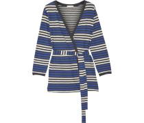 Bianca Striped Cotton-jersey Robe Blau