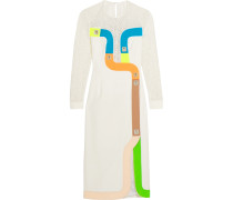 Track Embroidered Tulle And Wool-blend Crepe Dress Weiß