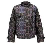 Garry Leather-trimmed Printed Cotton Coat Mehrfarbig