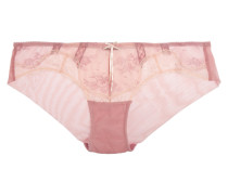 Heidi Mid-rise Lace And Stretch-mesh Briefs Babypink