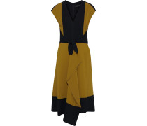 Cady-paneled Draped Knotted Two-tone Crepe Dress