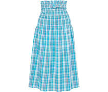 Belted Shirred Checked Crinkled-cotton Midi Skirt