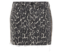 The Vagabond Distressed Leopard-print Denim Mini Skirt