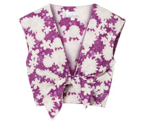 Marcy Cropped Tie-front Floral-print Cotton-voile Top