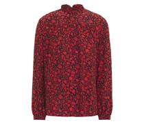 Ruffle-trimmed Floral-print Silk Crepe De Chine Blouse