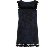 Tasseled embroidered faille mini dress