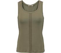 Cotton And Linen-blend Tank Armeegrün