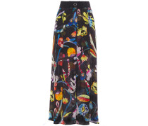 Fluted Printed Mulberry Silk Maxi Skirt