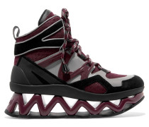 Ninja Wave Suede-trimmed Mesh And Leather Sneakers Burgunder