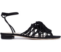 Marrie Knotted Tasseled Suede Sandals