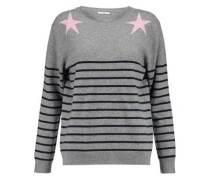 Striped intarsia wool and cashmere-blend sweater