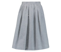 Pleated Houndstooth Wool And Linen-blend Skirt Weiß