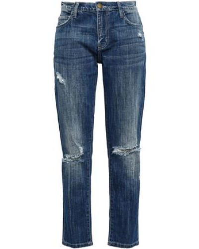 Distressed High-rise Straight-leg Jeans Mid Denim  3