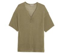 Tasseled Pointelle-knit Top Armeegrün