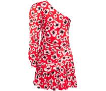 Christina One-shoulder Floral-print Hammered Silk-satin Mini Dress