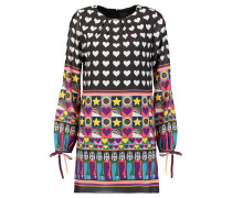 All You Need Is Love Printed Chiffon Mini Dress Schwarz
